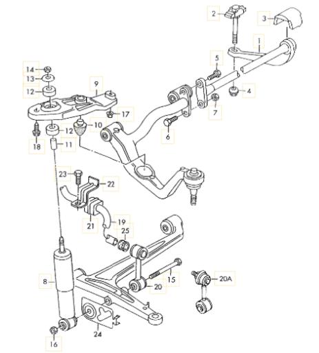 Схема передних амортизаторов Фольксваген Т4
