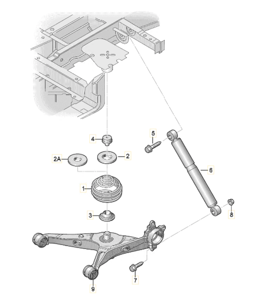 Задний амортизатор на Фольксваген Т5 и Т6