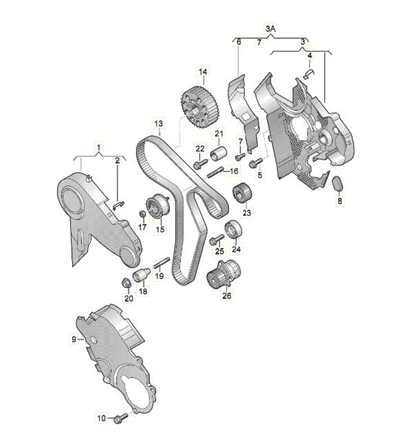 Комплект ГРМ на Фольксваген Т6 2.0 дизель на 160 зубьев