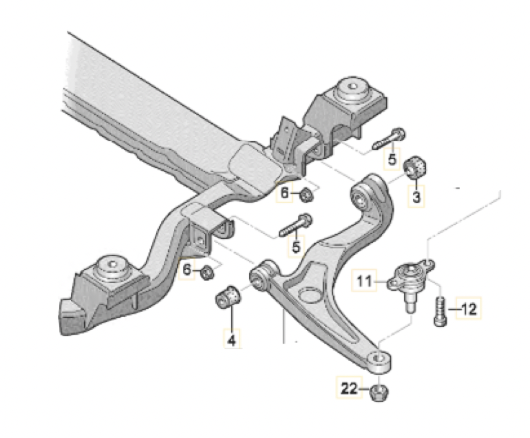 Сайлент-блок переднего рычага на Фольксваген Т5, Т6